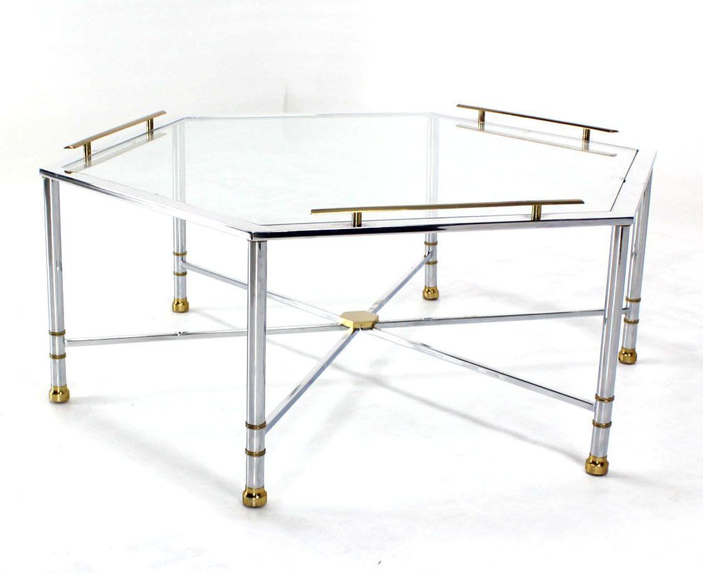 Chrome brass glass hexagon coffee table maison jansen coffee chrome brass glass hexagon coffee table maison jansen geotapseo Images