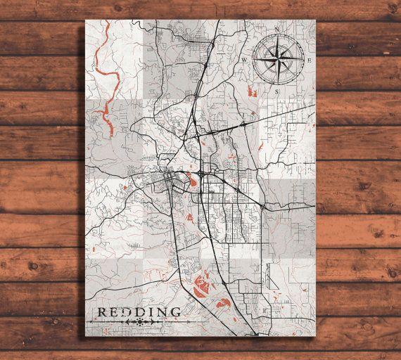REDDING CA Canvas Print California ca Vintage map Town City Black