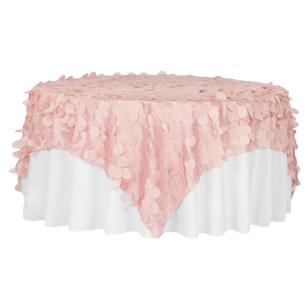 Petal Circle Taffeta 90 X90 Square Table Overlay Blush Rose
