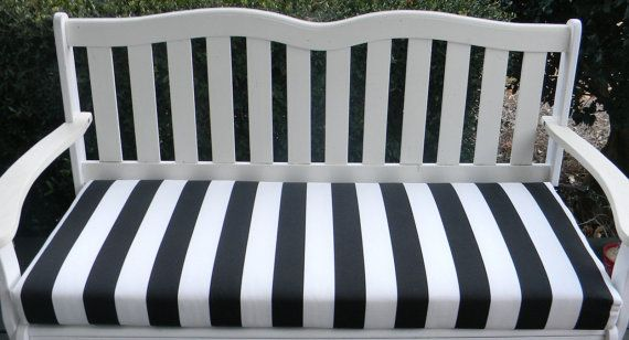Indoor Outdoor Swing Bench Cushion Black And White Stripe Choose Size Outdoor Swing Custom Bench Cushion Bench Cushions