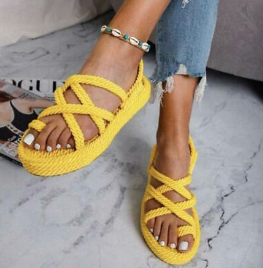 Hemp Rope Gladiator Sandal In 2020 With Images Criss Cross Sandals Sandals Womens Sandals Flat