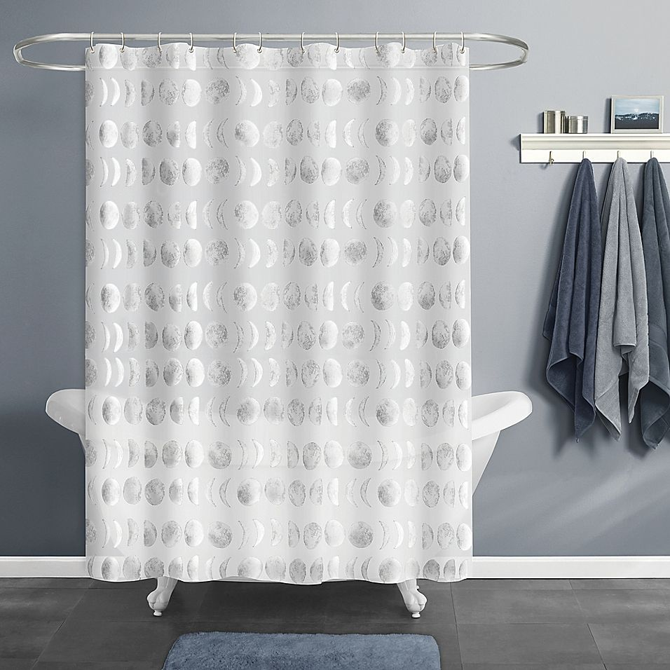 Moon Phase Peva Shower Curtain In Silver
