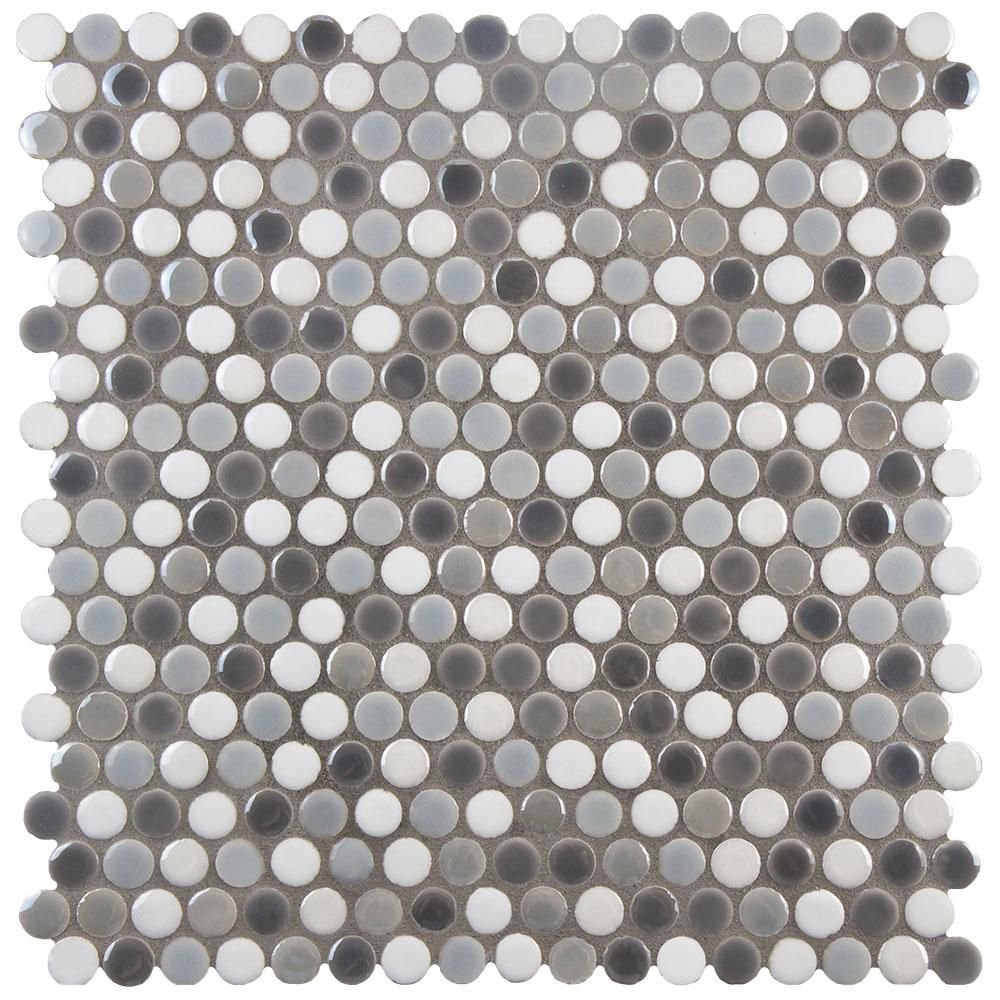 Merola Tile Galaxy Penny Round Luna 11 1 4 In X 11 3 4 In X 9 Mm Porcelain Mosaic Tile Wshgprlu The Home Depot Porcelain Mosaic Tile Porcelain Mosaic Elitetile
