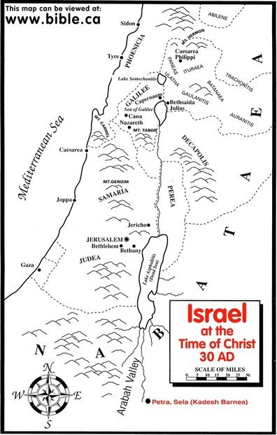 Map Israel At The Time Of Christ Jesus 30 Ad Bible Mapping