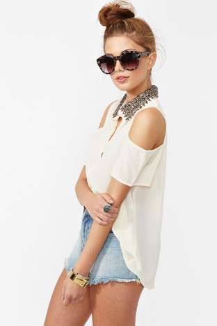 Total Stud Blouse - Cream | Shop What's New at Nasty Gal