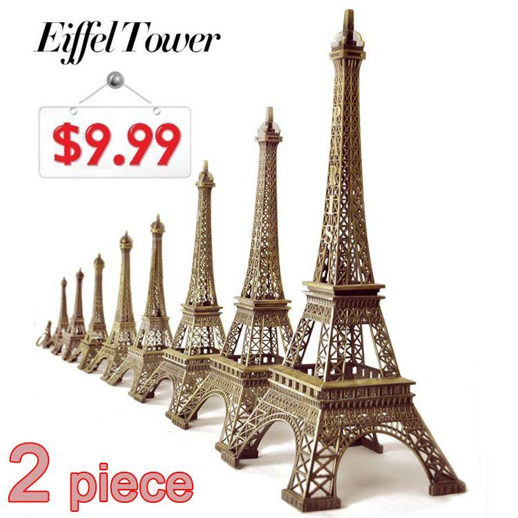 2pcs Set 22cm 18cm Bronze Tone Paris Eiffel Tower