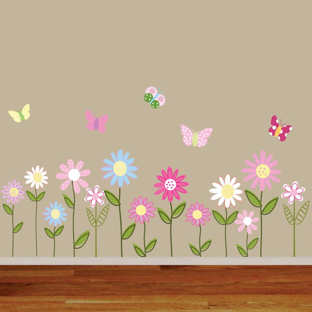 Vinyl Wall Decal Stickers Daisy Flowers Butterflies Fun Stuff - Vinyl wall decals butterflies