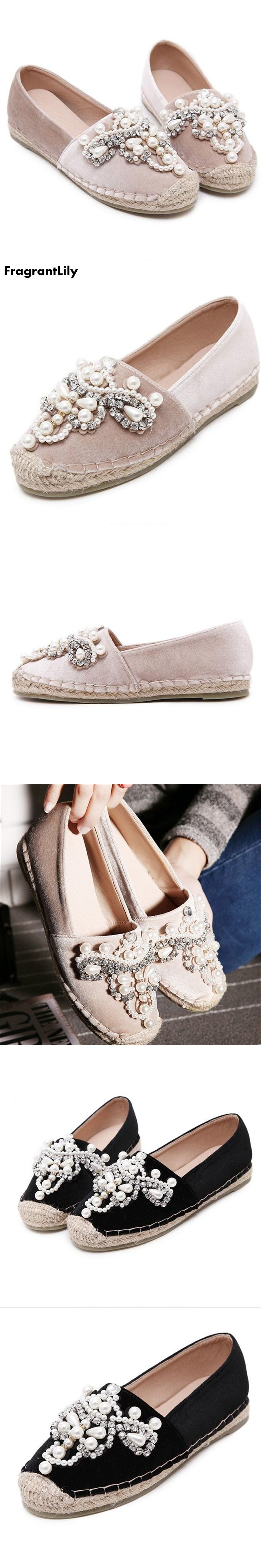 ed501f9c45d FragrantLily Autumn Women loafer Round Toe espadrilles Pearl ...