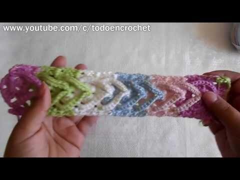 Como tejer una diadema a Crochet en punto de argollas gruesas ...