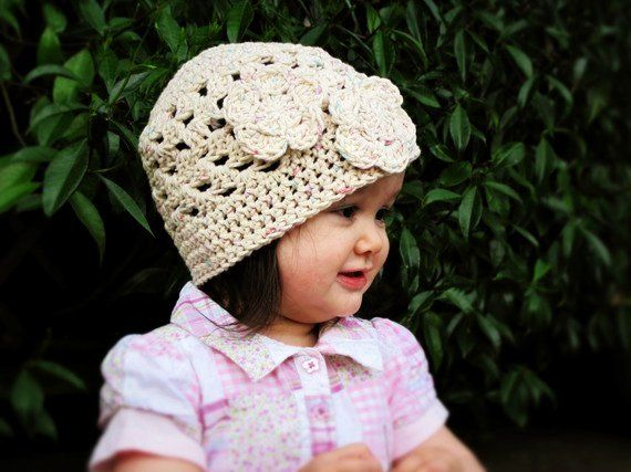 Girls Spring hat - cute crochet beanie for toddler and baby girls ...