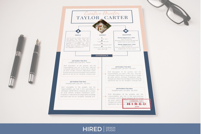 Creative CV, Resume template for Word and Pages + Cover
