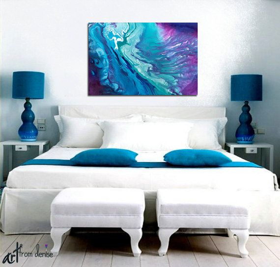 Teal Navy Blue & Purple Oversized Wall Art Canvas Abstract