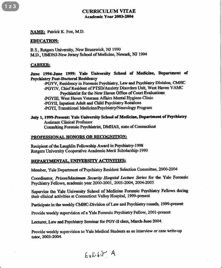 Patrick K Fox M.D. Curriculum Vitae page 1 Credit http://james ...