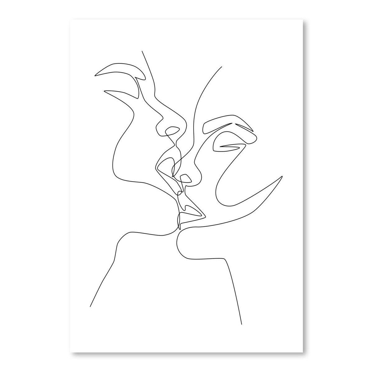 Рисунок одной линией поцелуй, картинках смешные