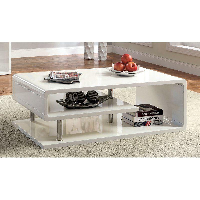 1885c623ac88b Furniture of America Rocca Modern Tier Coffee Table - White in 2019 ...