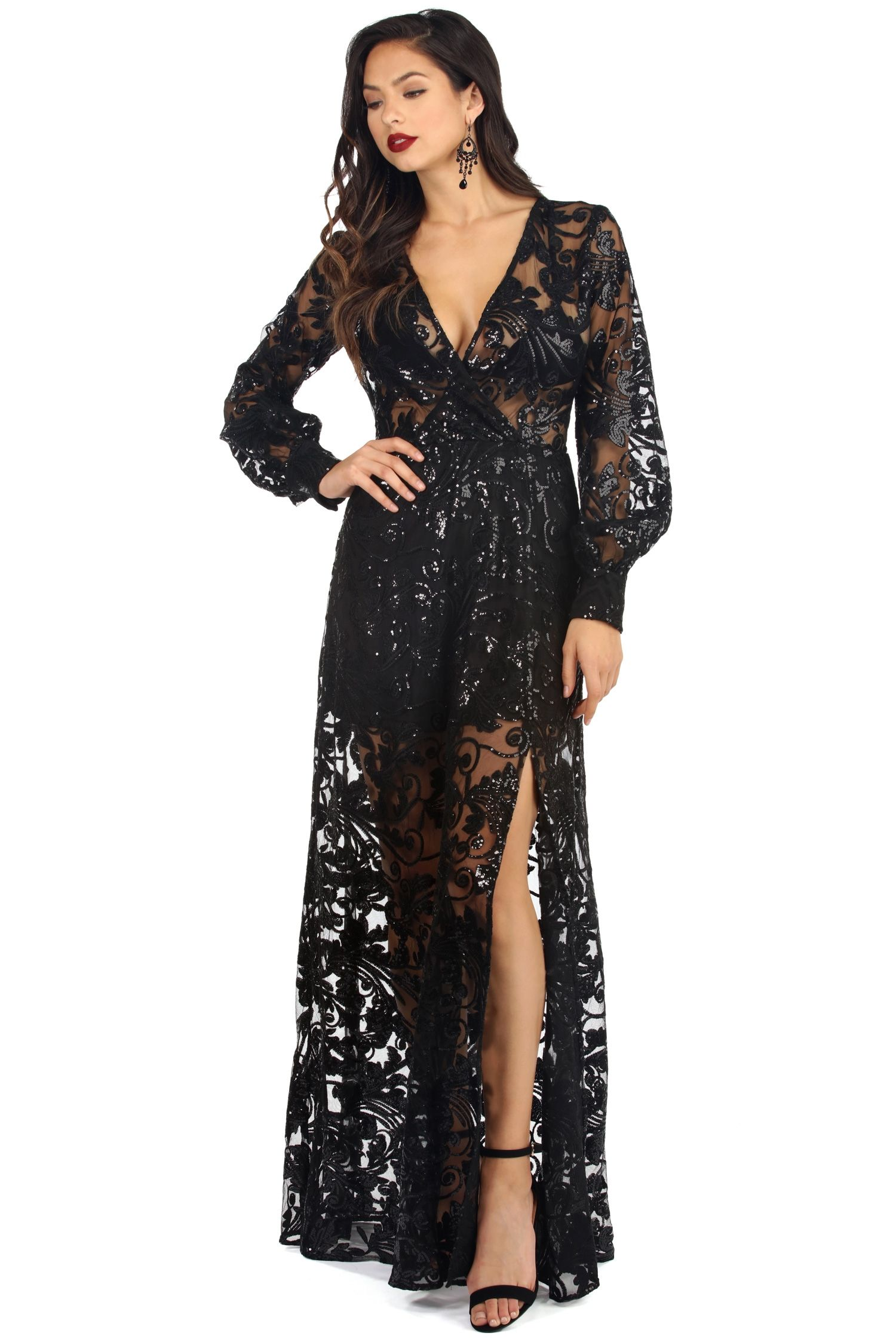 Long black backless lace dress windsor