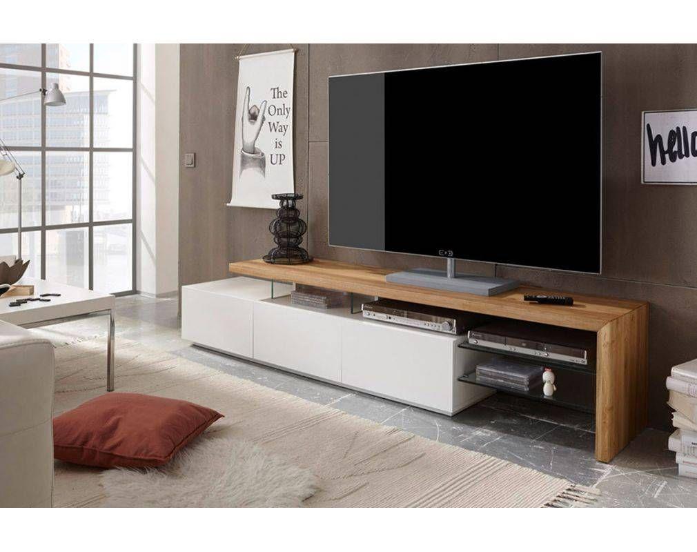 Meuble Tv Design Laque Blanc Plateau Chene 204 Cm Media Avec Images Meuble Tv Design Meuble Tv Design Laque Meuble