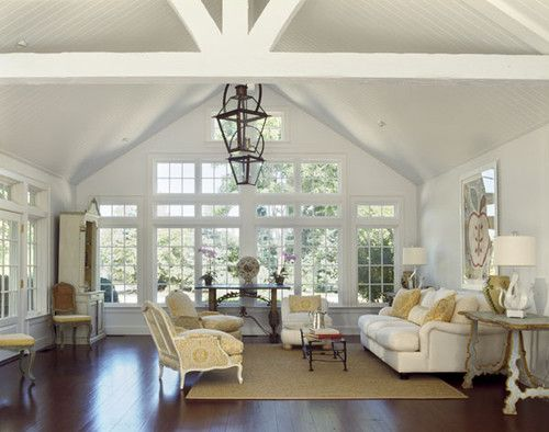 Country Houses Traditional Living Room Vaulted Ceiling