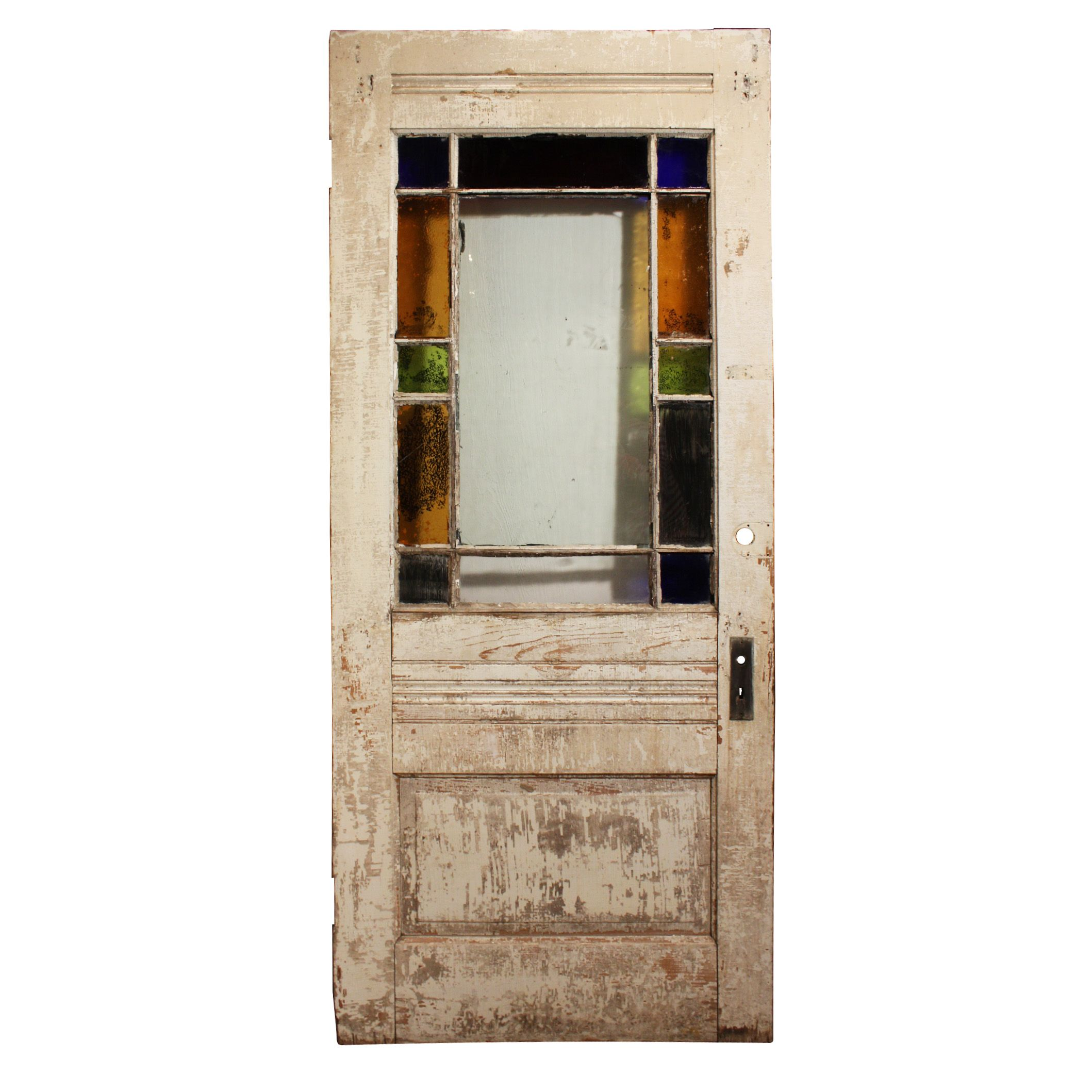 A Wonderful Antique Exterior Door Featuring Stained Glass Border And Lower Central Panel With Carved Wheat Stalk Medallion Dating From The