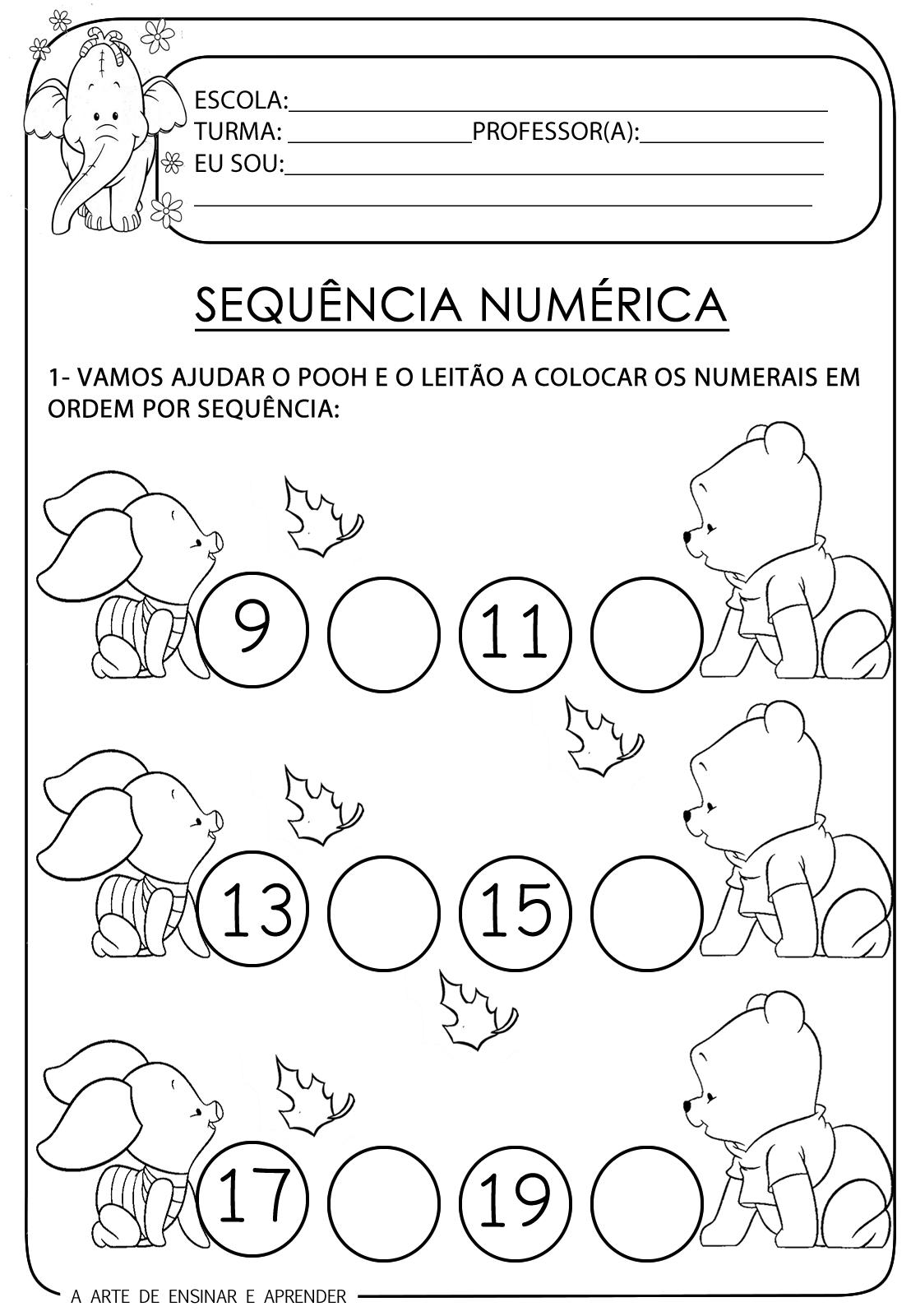 A Arte de Ensinar e Aprender: Atividade pronta - Sequência numérica ...