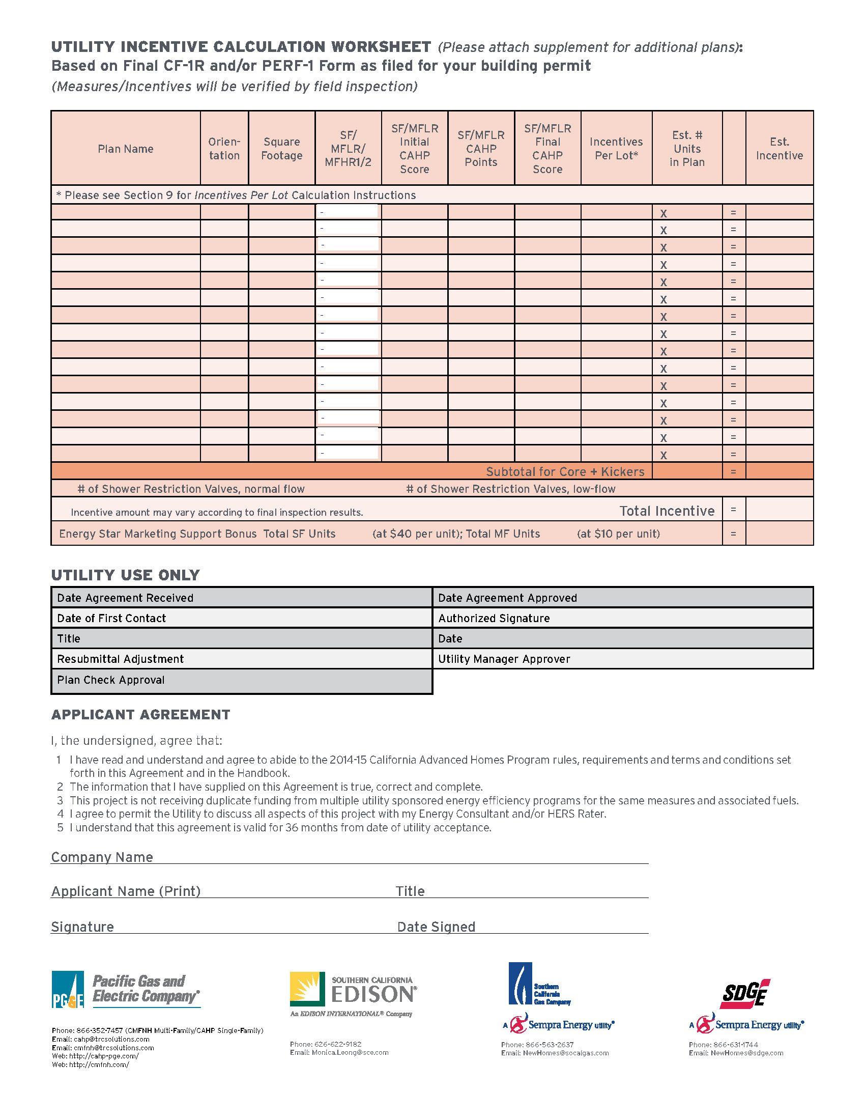 Utility Incentive Calculation Worksheet From The 2014 15 California Advanced Homes Program Single Family Multi Family Inc Incentive Understanding How To Plan