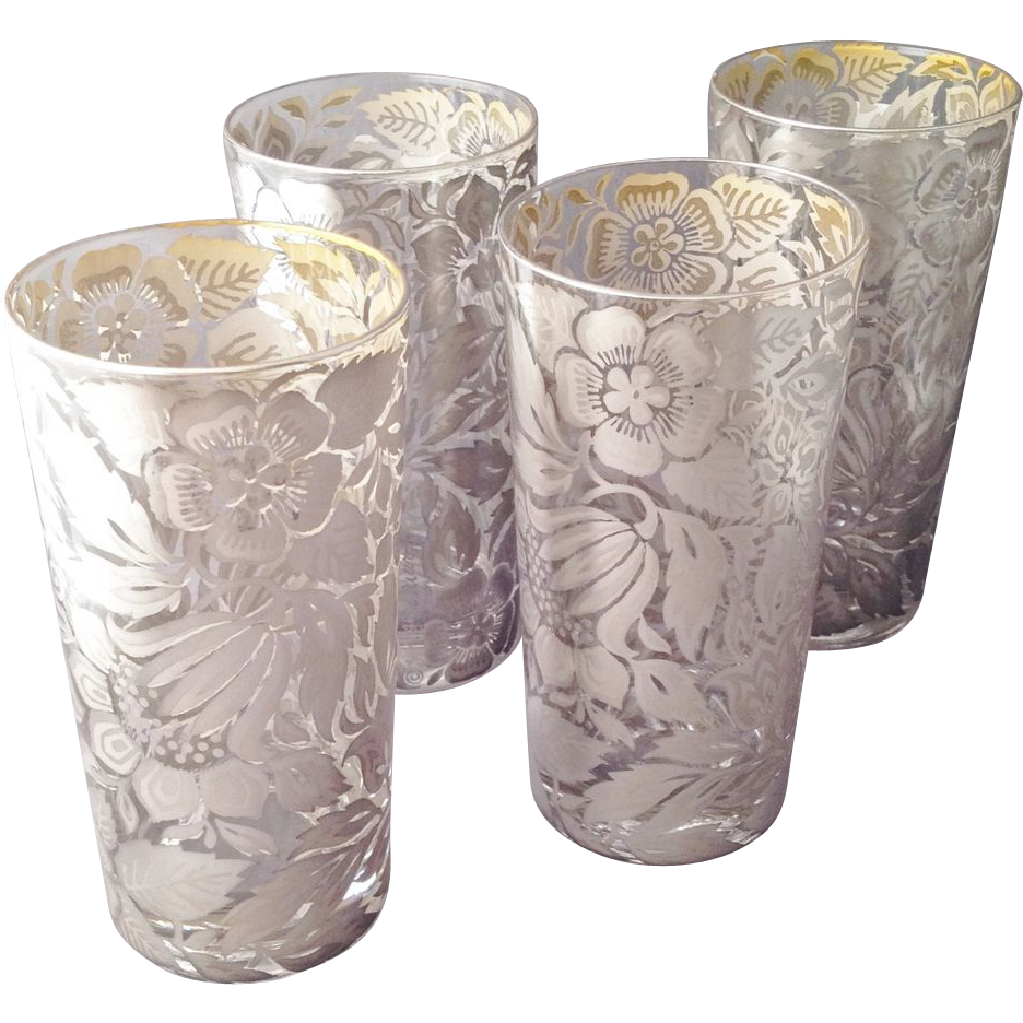 vintage georges briard glass | Vintage Georges Briard Silver High Ball Glasses w Flowers