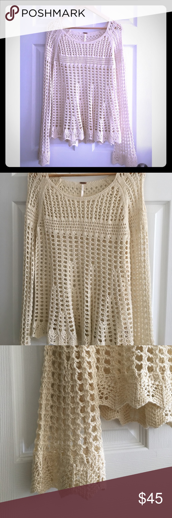 Free People Crochet Sweater NWOT Small Up for sale is Free People Crochet Sweater as shown on the photos. Lightweight. Color: Ivory. Size Small. Please note: New without tags. Never been worn. Perfect condition. No holes, stains or tears. Free People Sweaters
