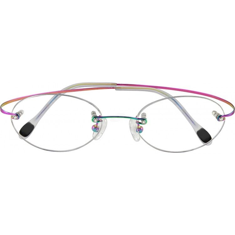 A dressy looking rimless, hingeless titanium frame with sparkling ...