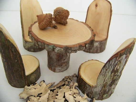 A Little Woodland Fairy Table Set Fairy Furniture Woodland Fairy Fairy Garden Diy