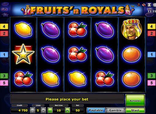 Peliautomaatti Fruits'n Royals Deluxe. Tämä hedelmäpeli on hyvin kirkkaita värejä, ja päärooli se soitti hedelmiä ja edustajat kuninkaallisen perheen. Hedelmäpeli Fruits'n Royals Deluxe on 5 kiekkoa ja niin monta pelilinjat. Ja muuttaa aktiivisten linjojen on mahdotonta. Raossa on symboli Scatter, sekä kierros kaksinker