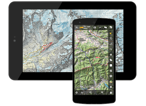 Multi-functional mobile outdoor navigation app for hiking, cycling, geocaching, sailing, flying and other sports activities and traveling