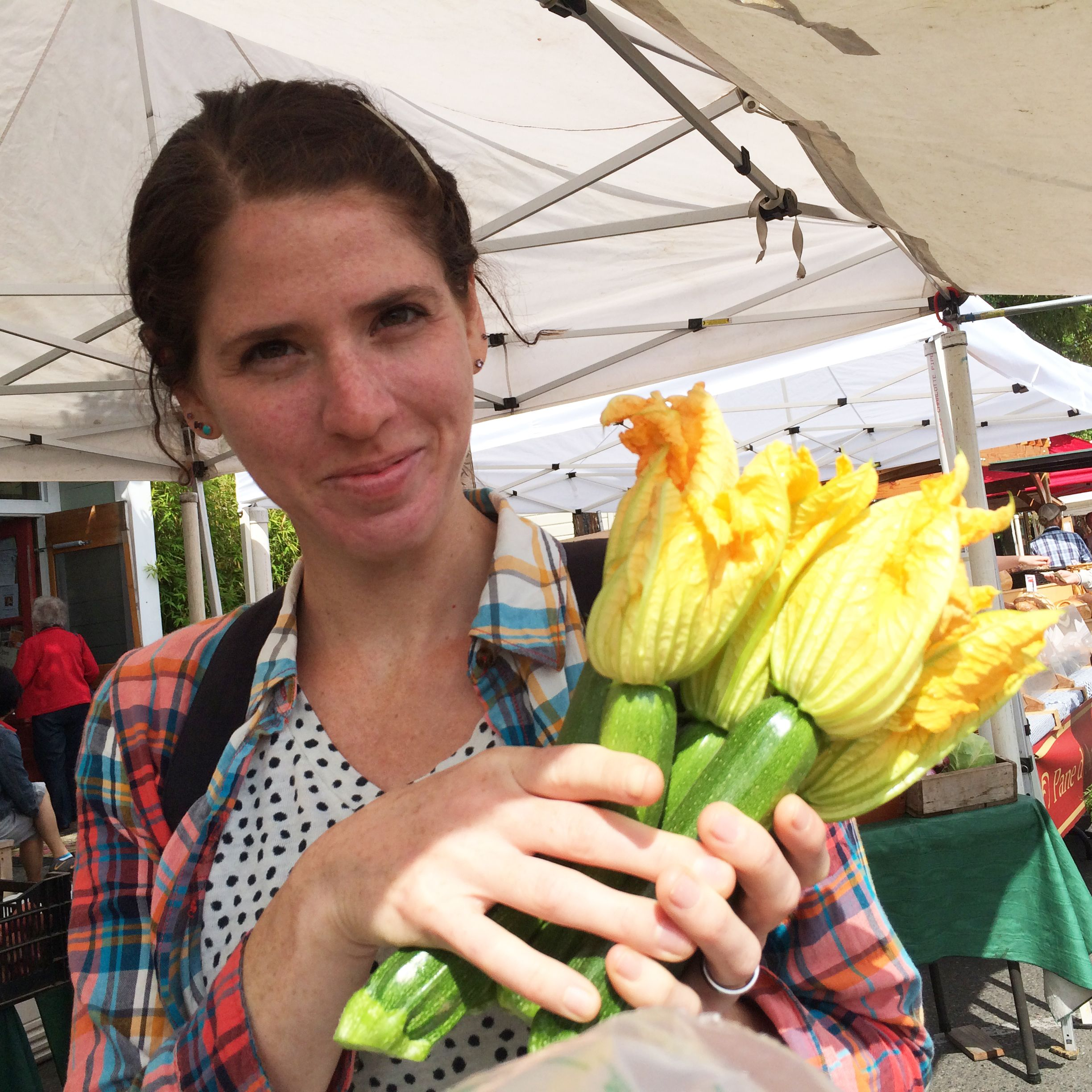 Buying fresh zucchinis at Port Townsend Farmer's Market