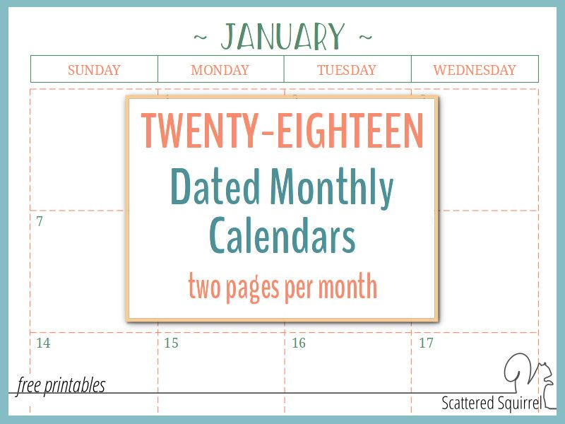 Two Page Per Month 2018 Dated Calendars Are Ready Schedule