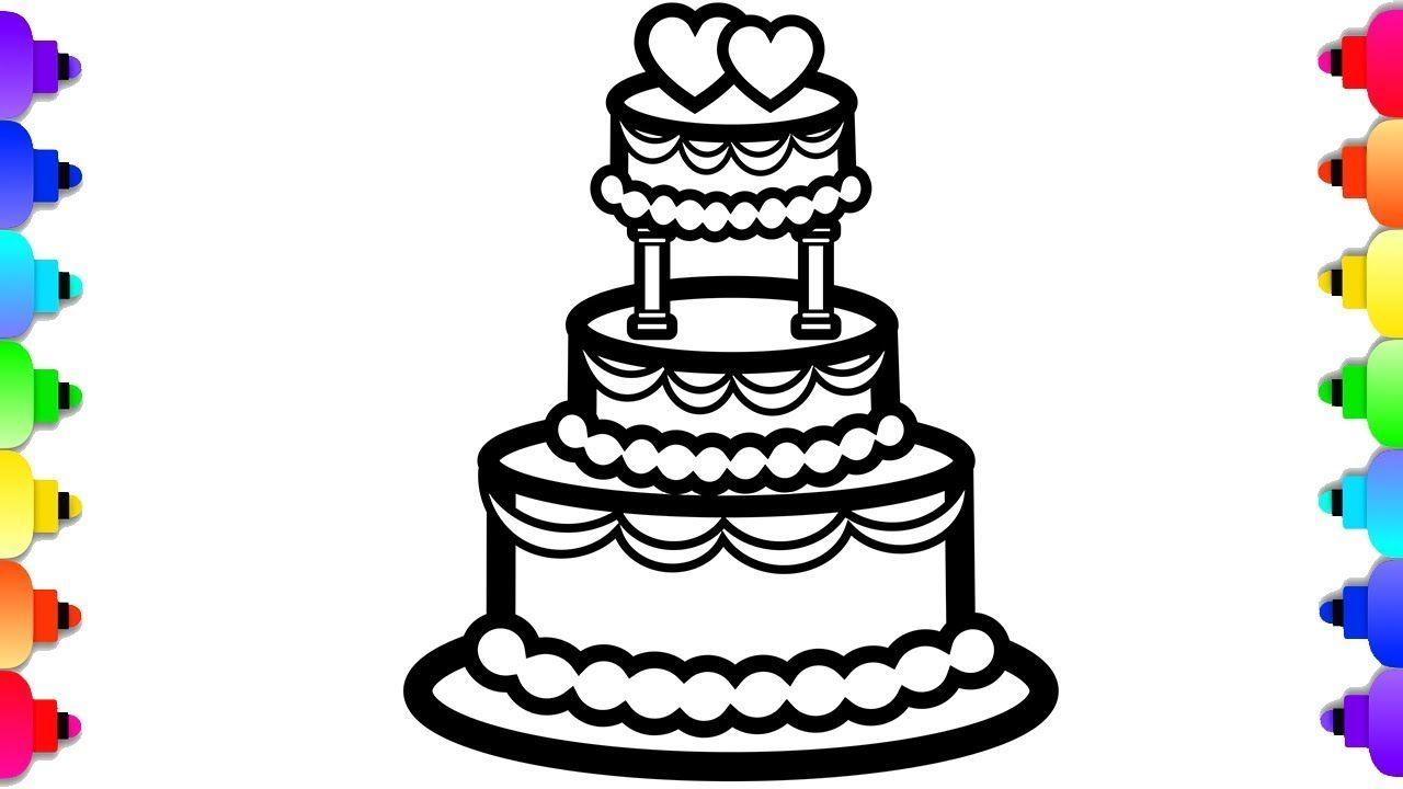 GLITTER Wedding Cake Coloring and Drawing for Kids ...