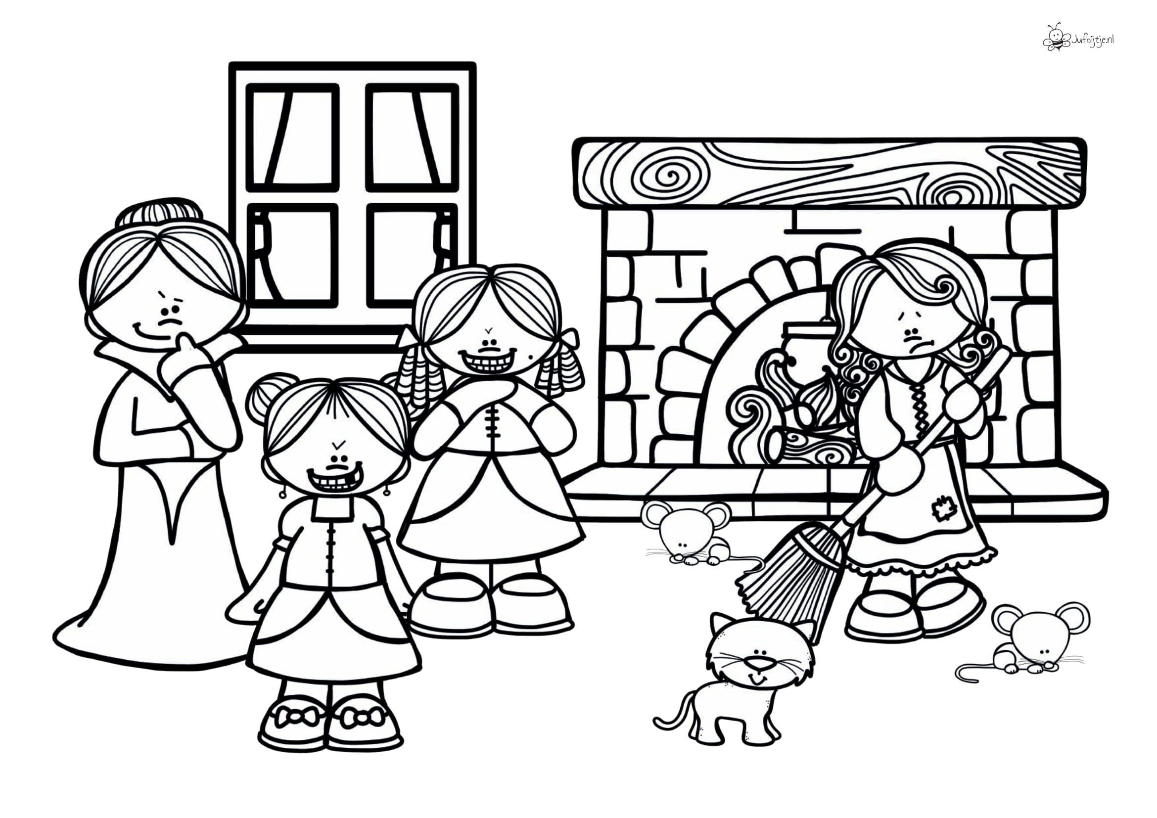 Kleurplaten Thema Sprookjes Roodkapje Assepoester Doornroosje Sneeuwwitje Jufbijtje Nl Doornroosje Sneeuwwitje Sprookjes
