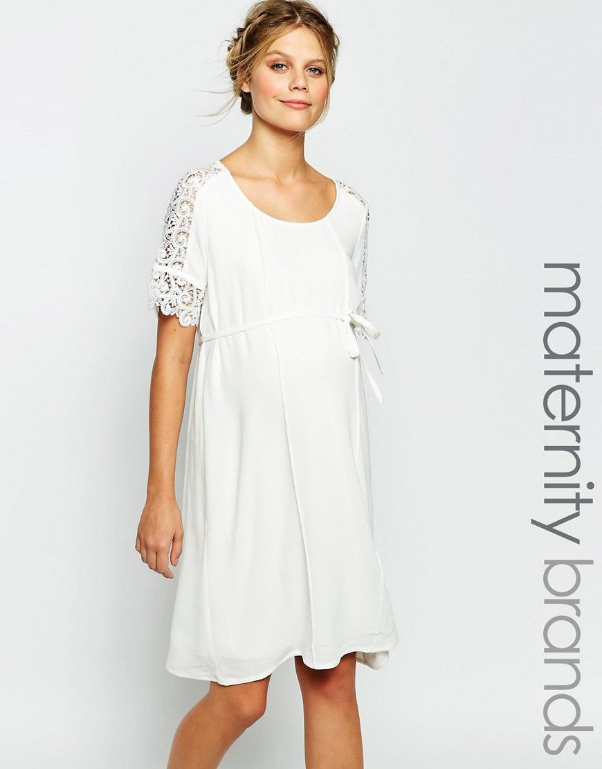 Mamalicious Shift Dress With Lace Detail Sleeves at asos.com