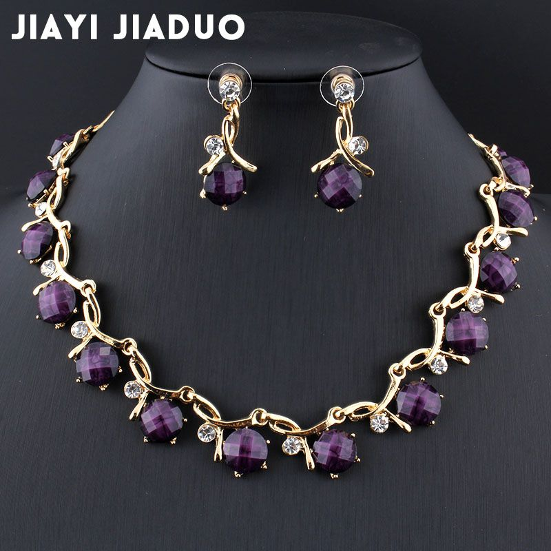 Colorful jewelry set Daughter gift for her Crystal necklace Unusual jewelry Crystal Earrings Long necklace Purple Pink Blue jewelry set