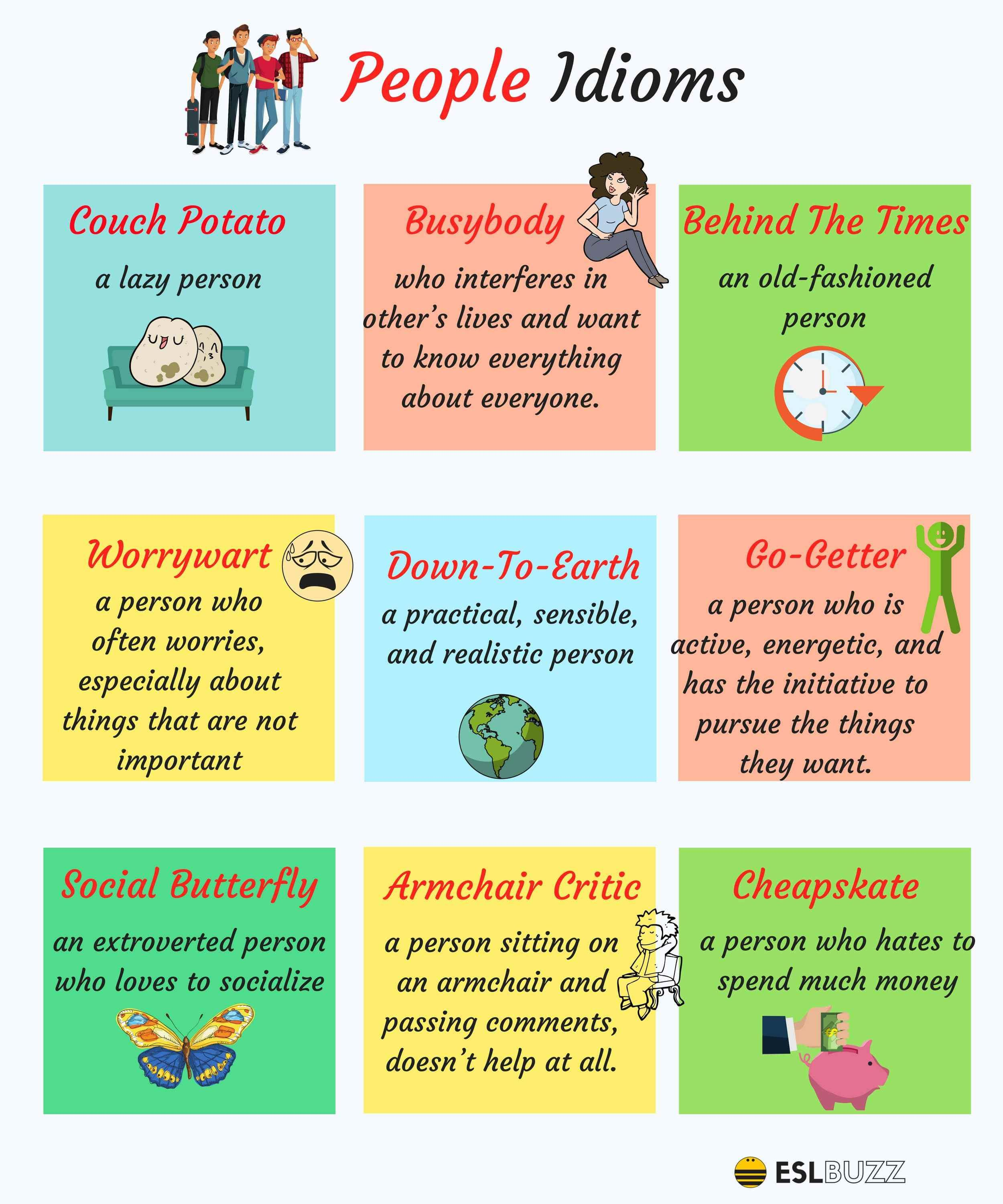 25 Common Idioms To Describe People In English With Images