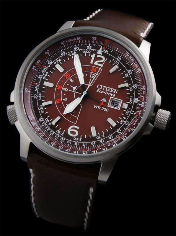 3fad81bf82a World Renowned CITIZEN NIGHTHAWK 200m WR HAVANNA EcoDrive DUAL PILOT GMT  WATCH!