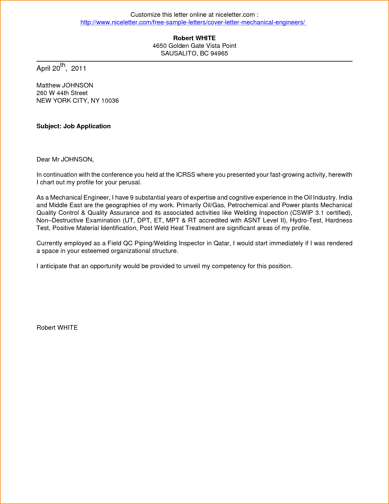 Application For Employment Cover Letter