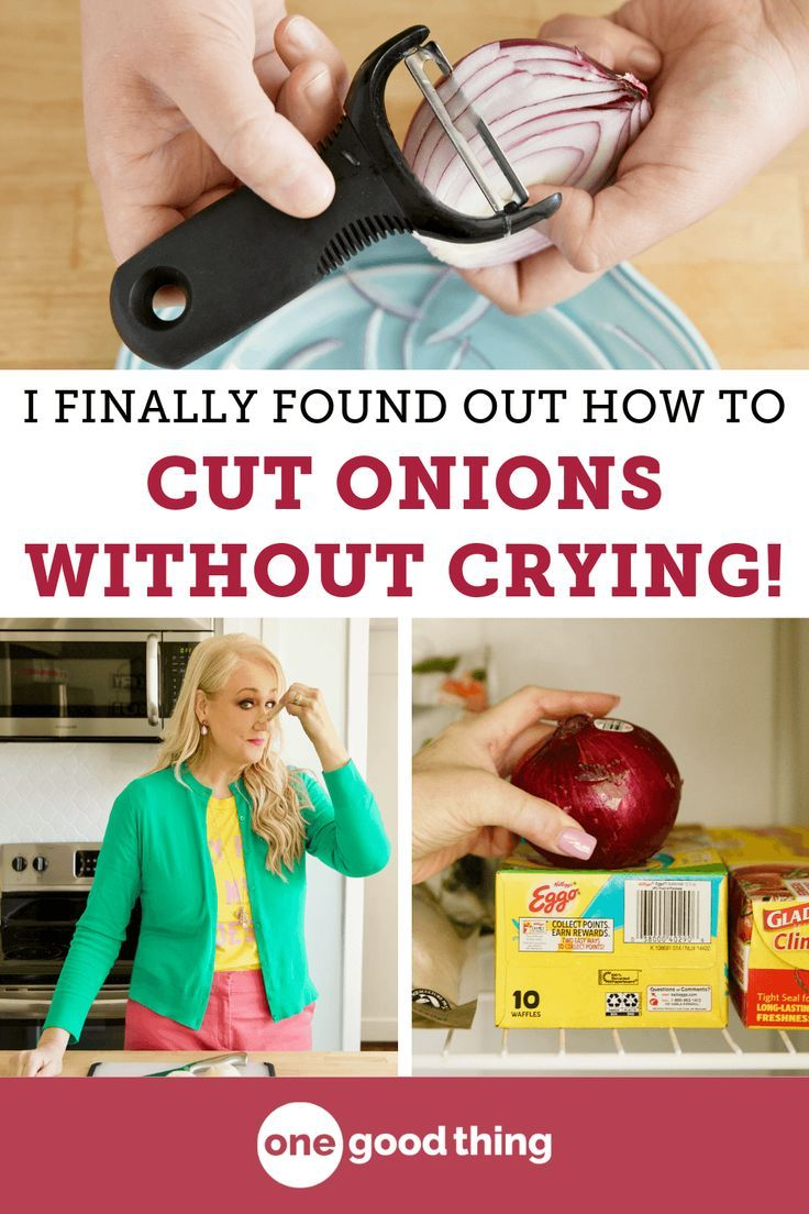 Always find yourself tearing up when you're cutting onions? I'm sharing 9 genius tips that will help you avoid the stinging and the tears too! #kitchenhacks #cuttingonions