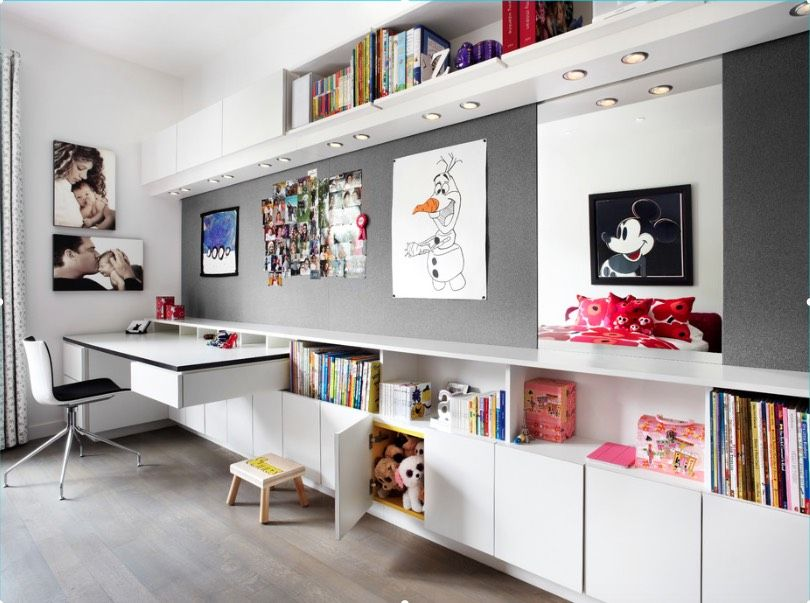 contemporary study furniture. A Contemporary Girl\u0027s Room With Long, Built-in Cabinet, Shelves And Floating · Modern Study FurnitureModern Furniture .