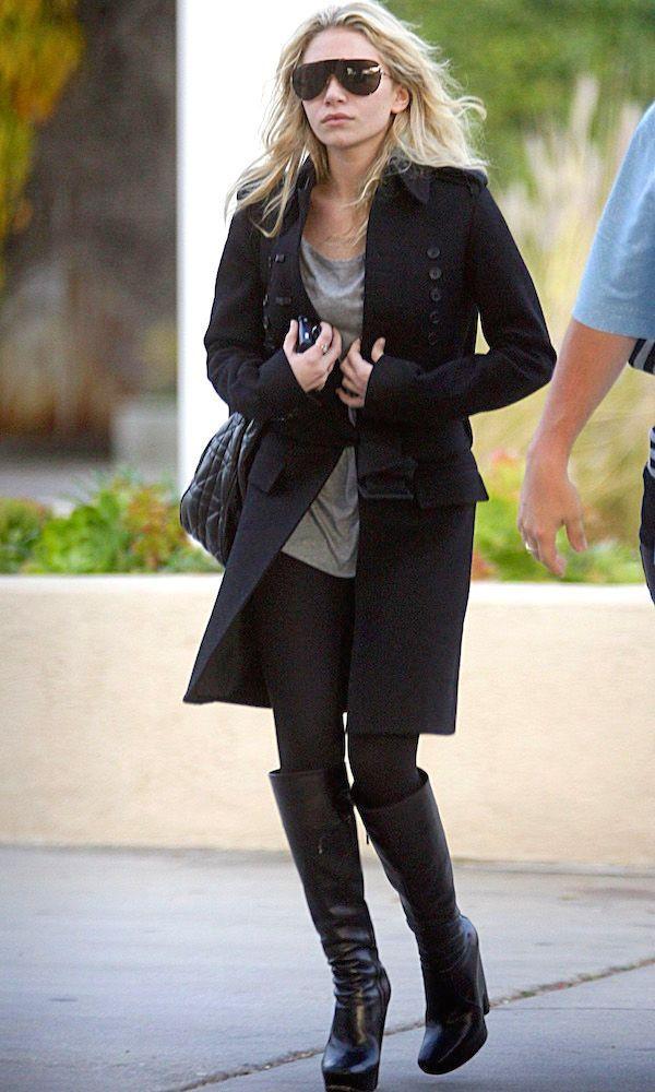 Black Knee-High Boots Ashley Olsen grey t-shirt mini dress, military blazer coat