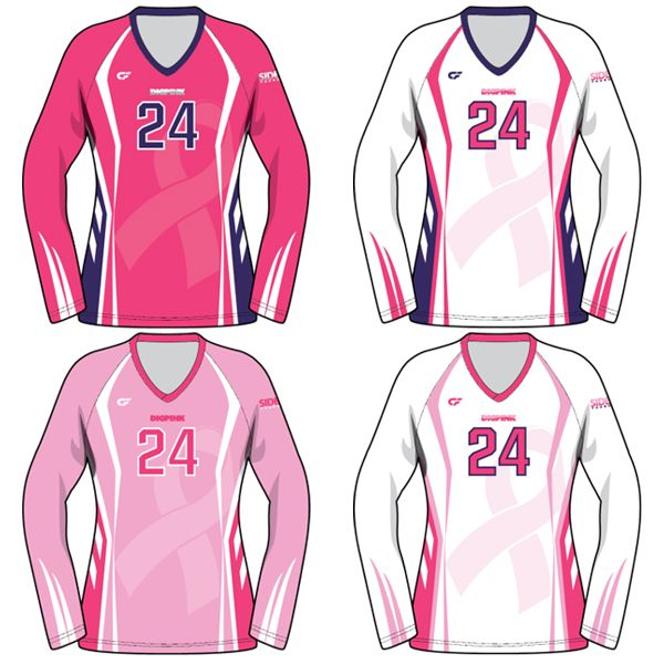 Custom Fuze Women S Sublimated Pro Series Quick Ship Long Sleeve Jersey Dig Pink Sports Wear Women Volleyball Uniforms Design Volleyball Jersey Design