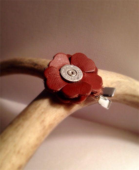 Leather flower hair clip Barrett gun ammo country accessory women #gunsammo