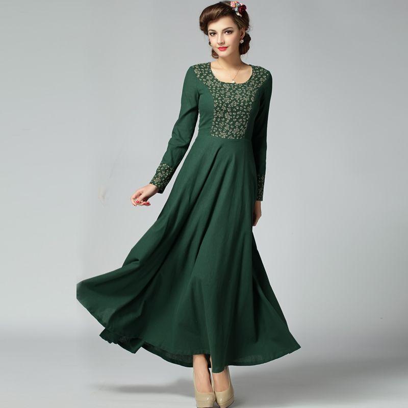 2015 new fashion cotton linen dreess women's long sleeve print ...