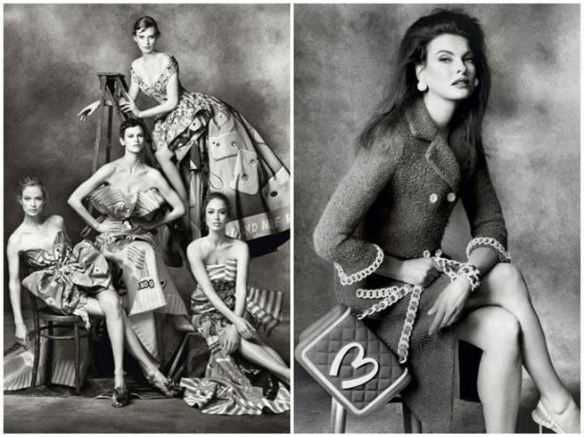 Jeremy Scott chose Steven Meisel to shoot his first ever collection since being named Moschino's Creative Director, in crisp black and white, and starring Linda Evangelista.