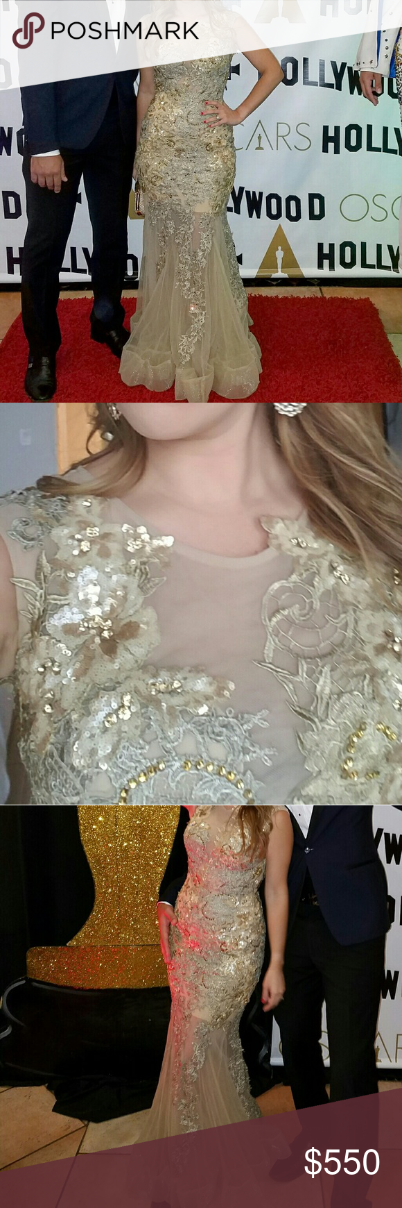 Alberto makali lace applique gown dress prom gala lace applique