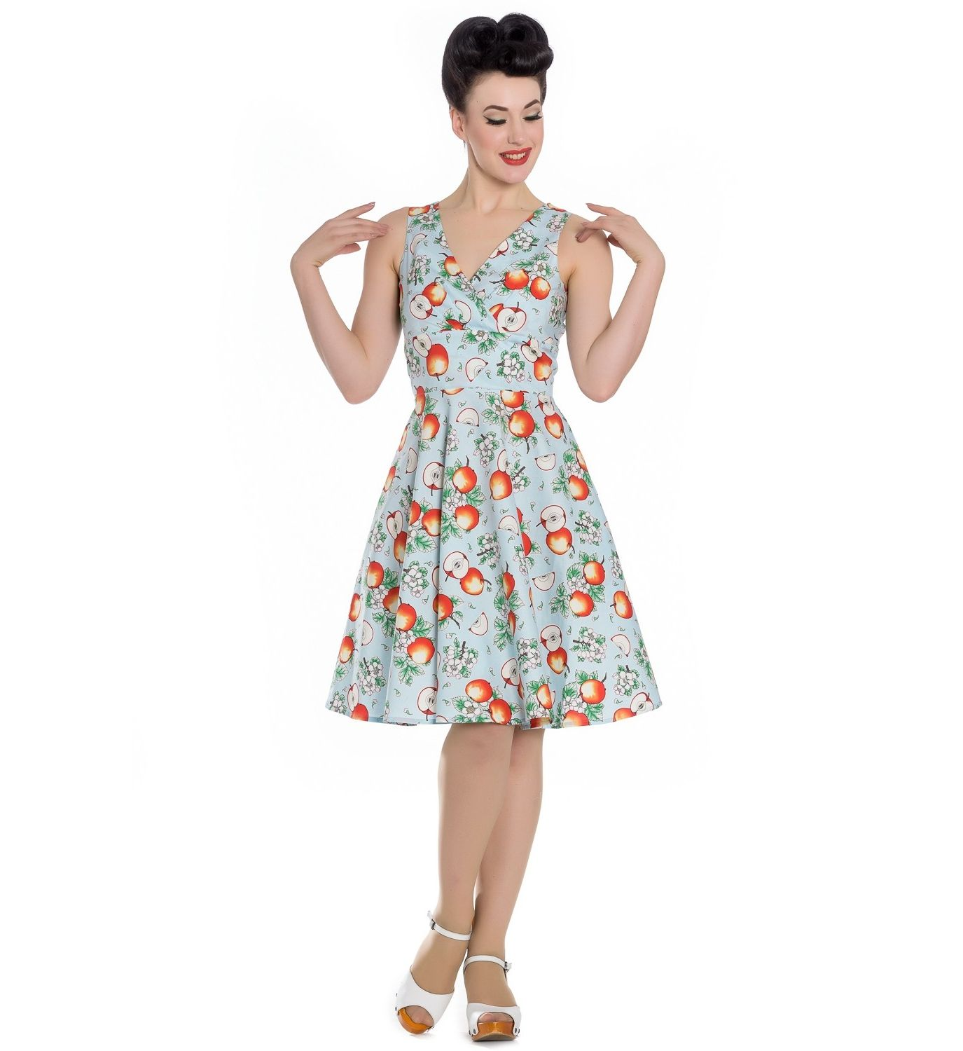 Plus Sizes    HELL BUNNY Blue Somerset Apple 50s Dress - + Inspired  Insanity + Clothing for 50s Rockabilly Dolls  2318f83b7b95