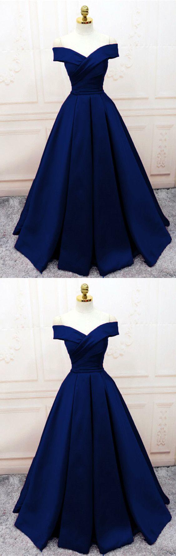 Navy Blue Satin V-neck Off Shoulder Prom Dresses Long Evening Gowns